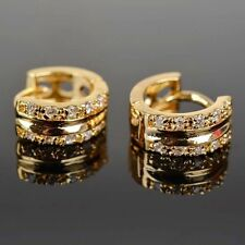 Fashion Ladies 18K Gold Filled Multi White Sappire Crystal Hoop Huggie Earrings