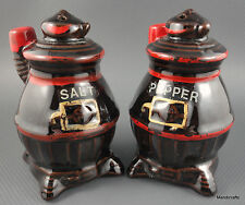 Salt & Pepper Pot Belly Stove Figural Shakers Japan Redware Red Cold Paint c1950