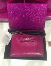 Coach Authentic Turnlock Bow Corner Zip Cranberry Wristlet -Holiday Gift Box NWT