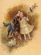 GORDON SETTER CHARMING DOG GREETINGS NOTE CARD BEAUTIFUL LITTLE GIRL AND DOG