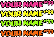 PAIR OF NEON TWO COLOUR SCREEN NAME + NUMBER DECALS GRAPHICS STICKERS