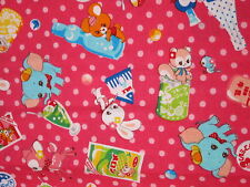 Japanese COSMO TEXTILE Pink Animals Food Dots Kawaii FABRIC - 1/2 YD 20x45 Japan