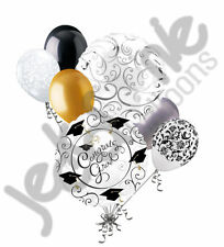 7 pc Touch of Class Grad Balloon Bouquet Party Decoration Graduation Elegant