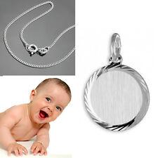 Baby Geburt Kinder Taufe Kette mit Namen Datum Gravur und Kette Echt Silber 925