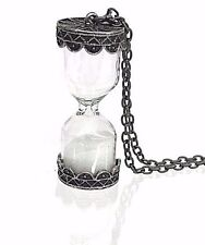 White Sand Silver Hourglass Necklace Classic Style Steampunk Punk Grunge Gothic