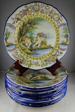 Ten French Faience Hand Painted Art Pottery Plates - S. Clement Frances