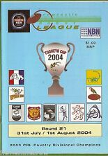#UU.  NEWCASTLE RUGBY LEAGUE PROGRAM ROUND 21,  31st July - 1st August 2004