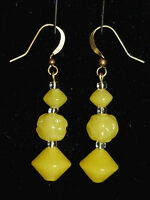 Art Deco yellow Uranium pressed glass bead earrings - match old 1930s necklaces