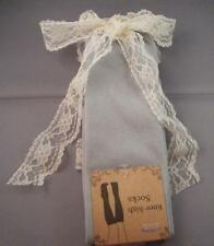 NIP Cotton Spandex Grey GRAY Knee High Boot Topper Socks w/ Ivory Lace Cuff Trim