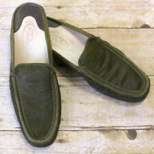 Tod's Green Calf Hair Loafer Mules Slides Sz 8.5 Flats