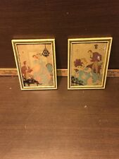 2-Vintage Silhouette Shadow Pictures Dome Glass Lady And Man Nice Colors