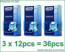 Brand NEW Contex Condoms LONG LOVE Condoms with Anesthetic  3x12pcs Boxes 36pcs