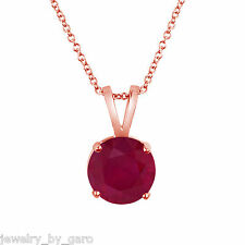 14K ROSE GOLD RUBY SOLITAIRE PENDANT NECKLACE HANDMADE 1.04 CARAT  BIRTHSTONE