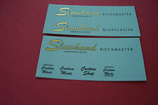 Waterslide Guitar and Bass Headstock Decals Vintage Repro Metallic Inks ONE