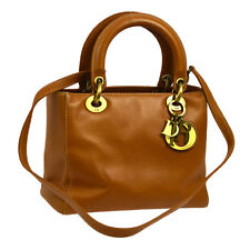 Auth Christian Dior Lady Dior 2way Hand Bag Brown Leather Vintage Italy NR09408