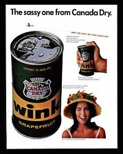 "Vintage 1966 Canada Dry Soda Pop  Wink ""The Sassy One"" Advertising Print Ad"