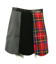 MOSCHINO Tartan Plaid Wool & Black Leather Patchwork Scalloped Skirt 40