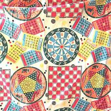 Ftg MCM Board Game Chinese Checkers Chess Bingo Fabric (6) Curtains & Bedspread