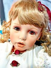 "SHAY Purple Donna RuBert LE #239 BIG 26"" Porcelain Doll + Chair Books Brown Eyes"