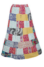 INDIAN PATCHWORK LONG SKIRT COLORFUL PRINTED GYPSY BOHO HIPPY RAYON SKIRTS