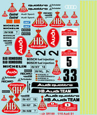1/10 1985 1986 Audi Sport Quattro S1 Racing sticker decal for RC Car F103 F104w