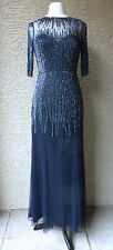ADRIANNA PAPELL 3/4 SLEEVE ILLUSION NECK BEADED NAVY GOWN, SZ 6, NEW, $ 295