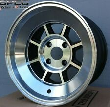 15X8 ROTA SHAKOTAN RIMS 4X100 WHEELS 0MM OFFSET POLISH BLACK COLOR (SET OF 4)