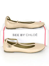 See By Chloe Womens Nude Leather Ankle Strap Pumps Size 38 (Uk 5)