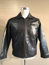 POLO RALPH LAUREN BLACK BUFFALO LEATHER JACKET SIZE LARGE SUPERB CONDITION