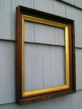 Antique Aesthetic Eastlake Victorian Deep Wood Gold Gilt Picture Frame 14 x 17
