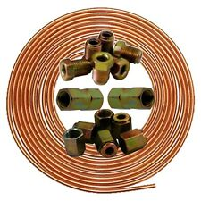 "Brake Pipe 3/16"" Copper Line 25ft Joiner Male Female 10mm Nuts Ends Tubing 2"