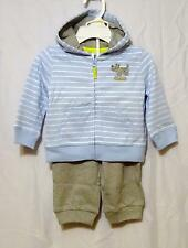 new NWT CARTER'S boys 100% Cotton Blue Hoodie Jacket & Pull-on Gray Pants 24 mos