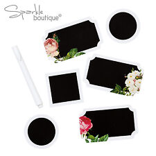 18x FLORAL CHALKBOARD-STYLE LABELS/STICKERS & PEN-Favours/Gift-Blossom & Brogues