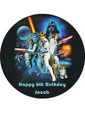 STAR WARS Personalised Edible WAFER Party Birthday Cake Decoration Topper Image