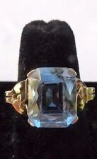 Antique Art Deco 5 Carat Emerald Cut Blue Spinel 10k Yellow Gold Ring