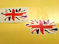 "UNION JACK FLAG SPLAT UK GB Van Car Bumper Helmet Stickers Decals 4"" or 100mm"