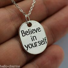 BELIEVE IN YOURSELF Charm Necklace pendant crossfit workout jewelry faith hope