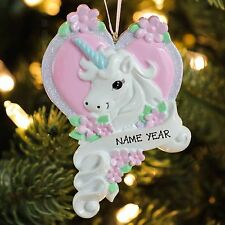 White Unicorn Horse with Pink Heart Personalized Christmas Tree Ornament