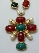 Couture Designer Style Maltese Cross Necklace Faux Pearl Jade Colored Lucite