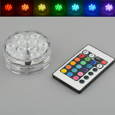 10 LED Multi Color RGB Submersible Underwater Party Vase Base Light Lamp Remote