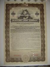 1915 Duquesne Light Company Specimen Bond Certificate Stock Pennsylvania
