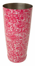 Pink Floral Patterned Boston Can StainlessSteel Cocktail Shaker Bar Pub Mixology