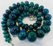 Charming!! 10-20mm Azurite Gemstone Phoenix Stone Roundel Beads Necklace