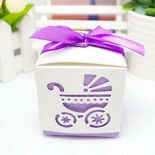 10Pcs Party Gift Laser Cut Baby Shower Candy Ribbon Boxes Carriage Shower Favor