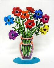 David Gerstein Metal Modern ART Sculpture Poppies  Anemones Flower Vase