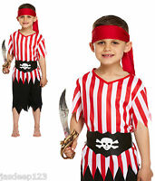 Pirate Boy Kids Fancy Dress Costume Jolly Roger Ship Wreck World Book Week Seas