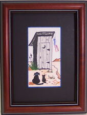 Buddies Waiting by Judy Burke Crowley pets sitting in front outhouse w/ windsock