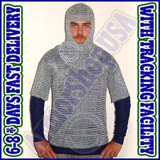 Butted Aluminium Chain Mail Shirt with Coif  ~ Chainmail Haubergeon with Hood