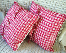 """Set of 2 Americana red/cream plaid pillows 18""""x18"""" w/ ties from Country Curtains"""