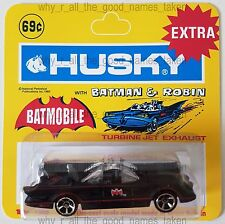 Hot Wheels Batman BATMOBILE Car in Repro. CORGI Juniors HUSKY 1202 Blister Pack